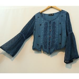 More Embroidered Button Up Boho Gypsy Top